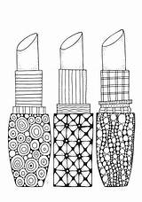 Coloring A4 Adult Doodle Lipstick Patterns Vector Beauty sketch template