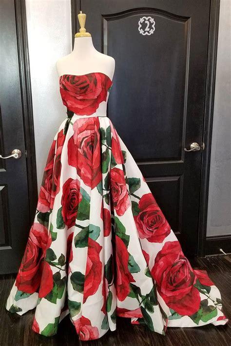 princess strapless floral long prom dress graduation dress