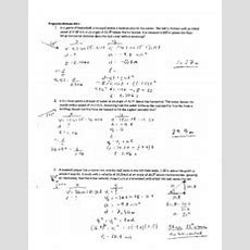 "Projectile Motion Worksheet Ii Solutions  General Launch Ws Ll 1 The""hang Time Of A Punt Is"