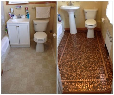 Kitchen Floor Of Pennies by Tile Floor Mosaic Before And After Pennies