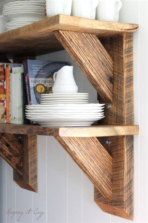 Keeping It Cozy Reclaimed Wood Kitchen Shelves