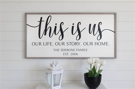 Rustic home decor | my home decor guide. This Is Us Sign, Our Life Our Story Our Home Sign, Framed Wood Signs, Anniversary Gift, Family ...