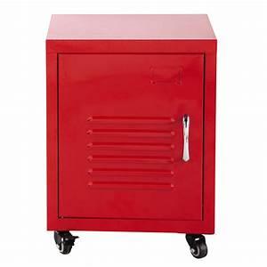 Table De Chevet Metal : table de chevet roulettes en m tal rouge l 37 cm loft ~ Melissatoandfro.com Idées de Décoration