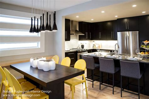 modern black  yellow  calgary interior designer