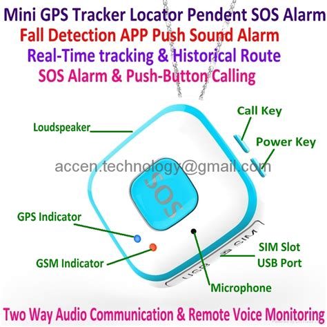 Mini Pendant Sos Alarm Personal Gps Tracker Fall Detection