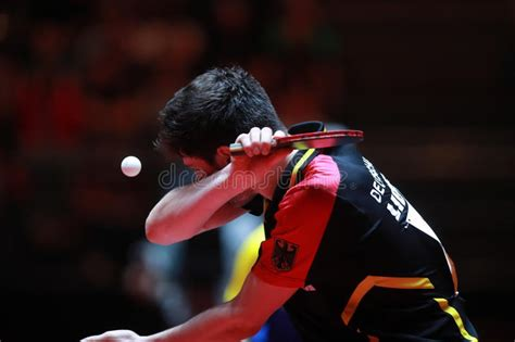 He is often referred to as the mozart of table tennis, and is widely regarded as one of the greatest table tennis players of all time. Dimitrij Ovtcharov redactionele fotografie. Afbeelding ...