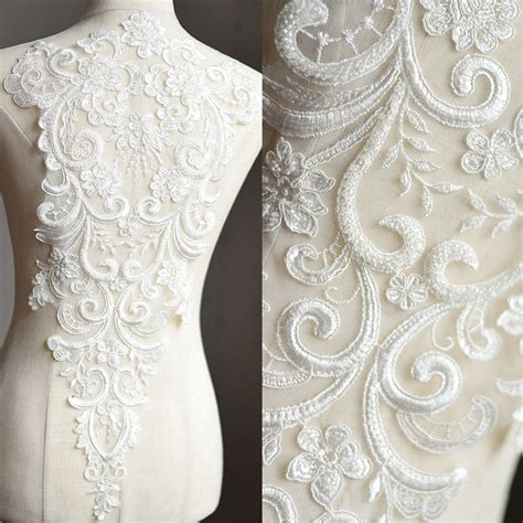 lace fabric off white mesh beads embroidered applique diy