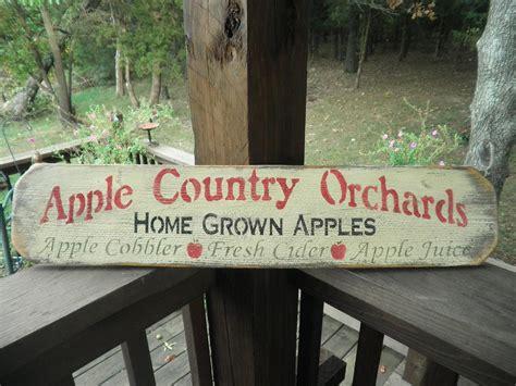 Primitive Country Decor Apple Sign Rustic