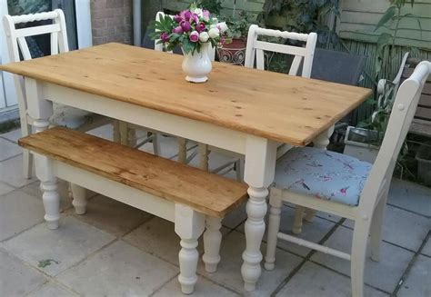 shabby chic kitchen table and bench shabby chic solid pine farmhouse table 4 chairs and bench