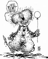 Pennywise Clown Coloring Pages Scary Clowns Template Sketch sketch template