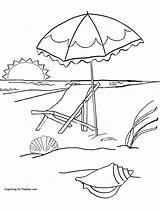 Beach Coloring Pages Sunset Latest Printable Umbrella Getcolorings Umbrell Colorings sketch template