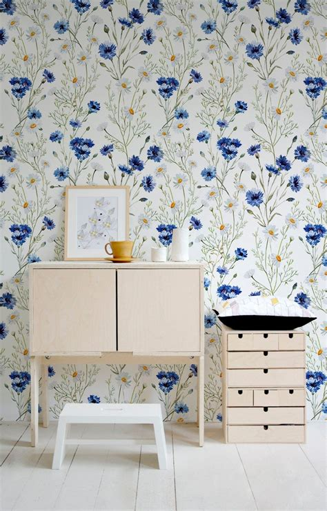 blue vintage wallpaper wall mural blue flowers floral wall