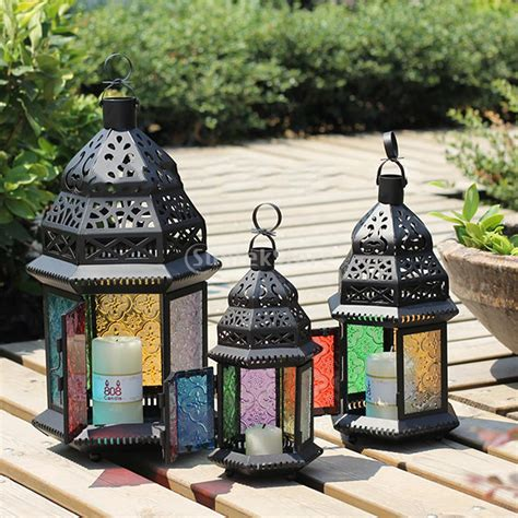 moroccan style hanging lantern tea light candle holder moroccan style metal castle votive candle tea light holder