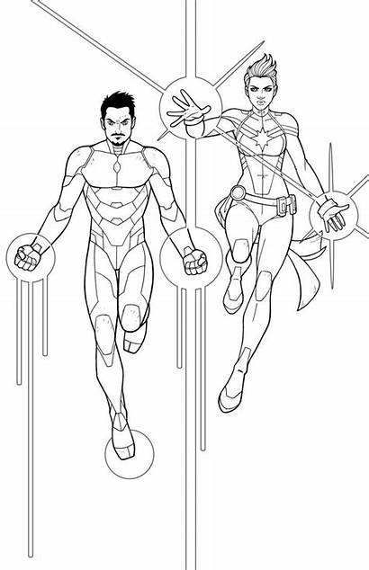 Captain Marvel Coloring Pages Iron Deviantart Jamiefayx