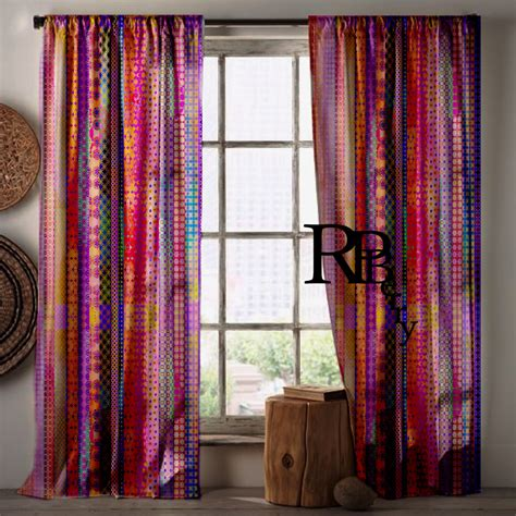 bohemian curtains moroccan drapes purple by