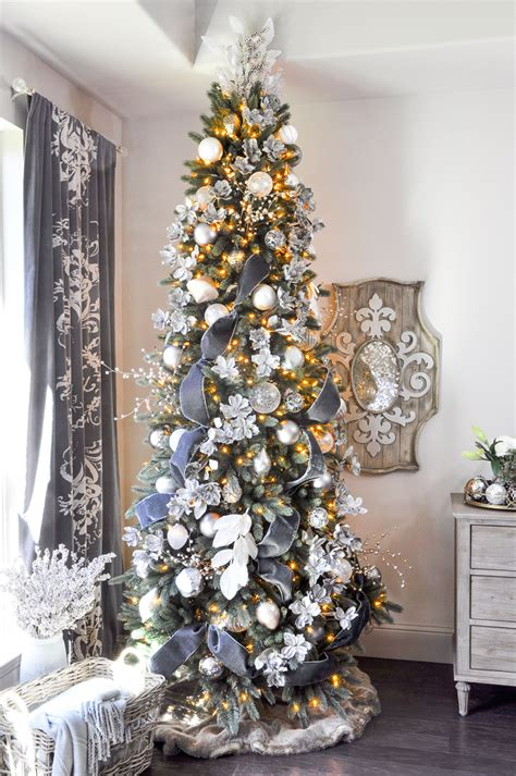 white tree with gold decorations deck the halls home tour entry decor gold