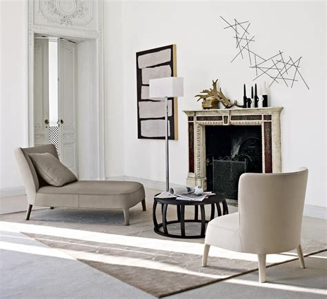 chaise longue salon neutral simple furniture fireplace interior design ideas