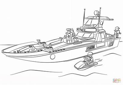 Coloring Lego Police Boat Pages Printable Drawing
