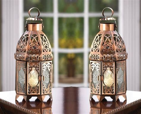 lantern candle holders copper moroccan candle lanterns lot of 2 candle holders