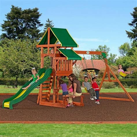 Backyard Play Set by Outdoor Playground Playset Wooden Swing Set Slide Backyard