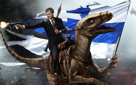 Teddy Roosevelt Riding A Velociraptor