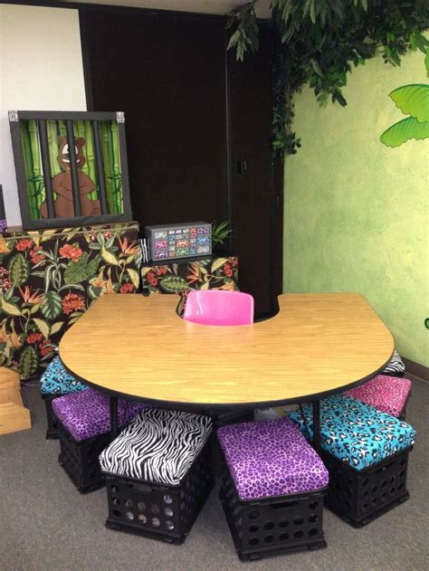 Classroom Decorating Ideas With Zebra Print by Jungle Classroom Theme Table Crate Seats With