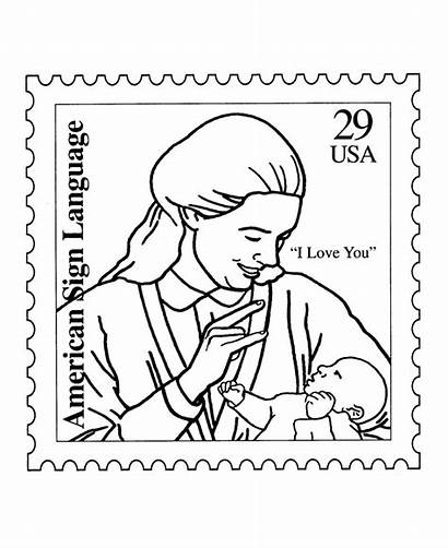 Coloring Language Sign Pages Stamp Asl American