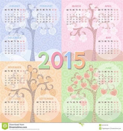 calendar easily edited template calendar 2015 year stock vector image 45155133