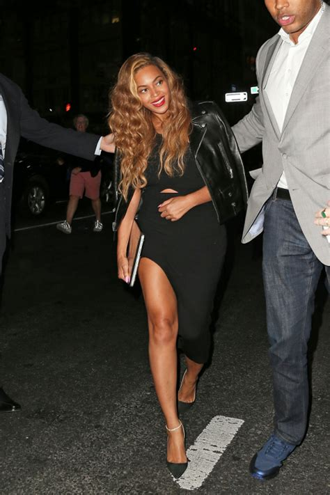 Celebrity Style - Beyonce Shows Off Her Stems In Black Asymmetrical Dress - Fashion Trend Seeker