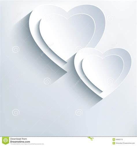 hearts wedding place card modern grey background with white paper 3d hearts stock