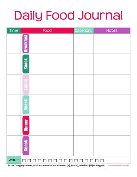 food diary template 6 food journal templates excel pdf formats