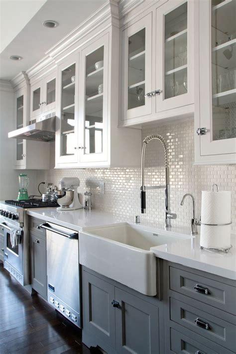 greywhite kitchen  dark wood floors farmhouse sink