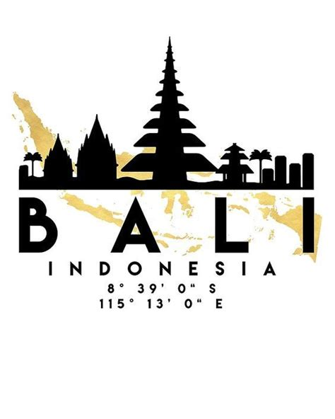 bali indonesia silhouette skyline map art photographic