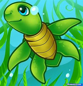 How to Draw a Sea Turtle, Cartoon Sea Turtle | Jillian ...