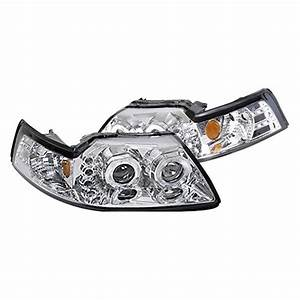 Spec-D® - Ford Mustang 2000 Chrome Halo Projector Headlights with Parking LEDs