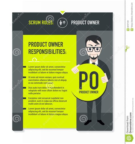 product owner responsibilities stock vector image