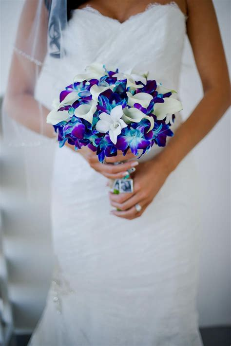 Bright Blue And Purple Orchid Bouquet Palm Beach
