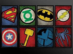 Diy superhero wall decor : Set of superhero kids wall art decor nursery superman