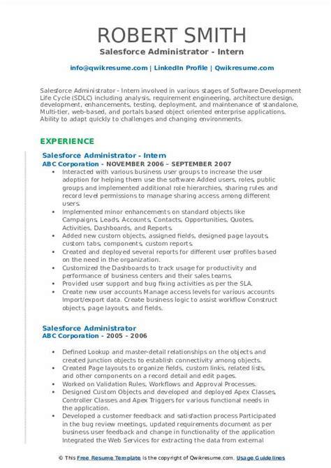 salesforce administrator resume samples qwikresume