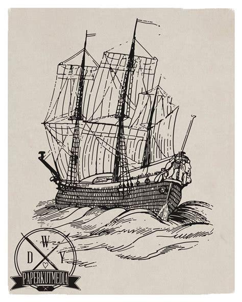 Ship Illustration by Vintage Ship Illustration Tattoo Art Pinterest Logos