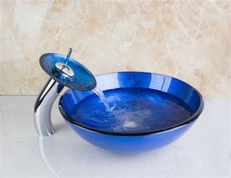blue glass vessel sinks for bathrooms 4069 1 dark blue glass round bathroom art washbasin