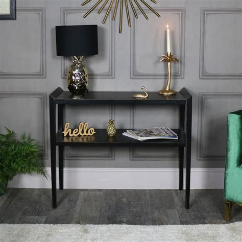 rustic black wooden console table mika range melody