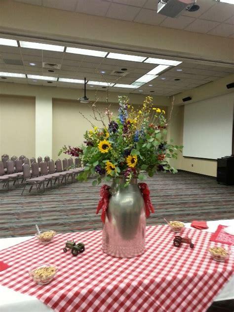 milk jug  bandanas  flowers   farmcountry