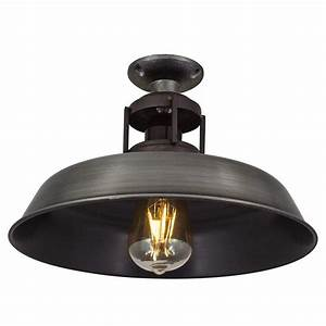 Barn slotted flush mount ceiling light in pewter finish for Barn style ceiling lights