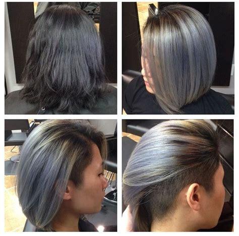 grey undercut bob hairstyles short hair undercut