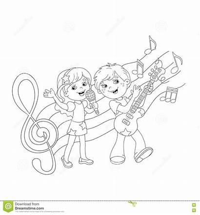 Coloring Boy Song Singing Outline Guitar Cartoon