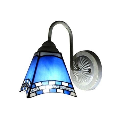 blue wall sconce blue and white glass style one light wall