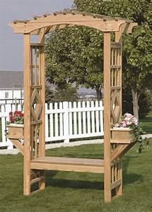 Outdoor Wooden Garden Arbor Trellis Arches Bench Amish