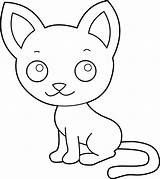Cat Coloring Kitty Clip Line Graphics Sweetclipart sketch template