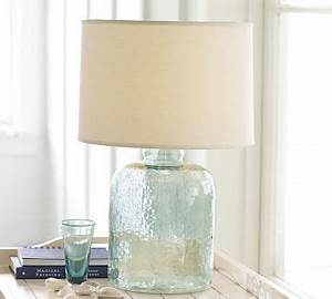 Devin glass table lamp base pottery barn for Glass jar floor lamp